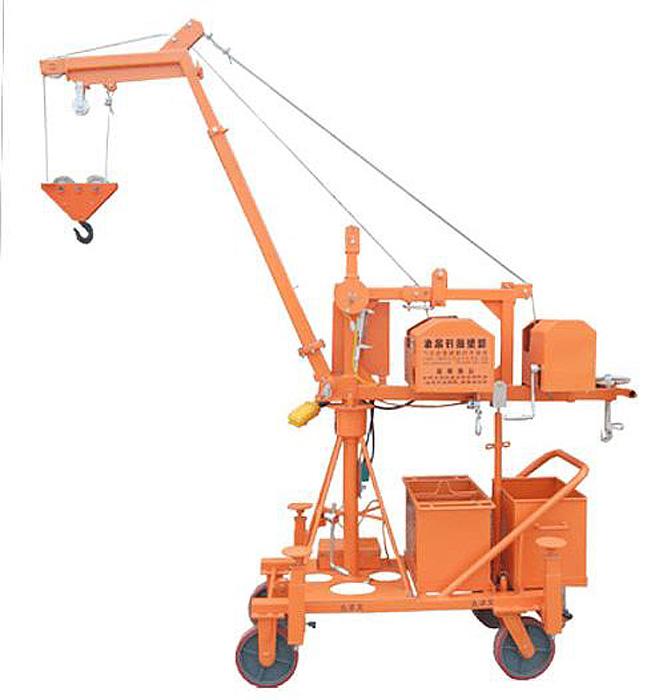 小龙吊BHD800 该吊车设备占地1平方米左右、机身紧凑、宽度仅有0.8米,长度1.6米,同时可以灵活的拆装分解方便放置保存。此新型吊车小巧轻便、起吊速度平稳快捷,可以进入更多的狭窄空间作业。可对任何形状的物体进行高空的升降和平地搬运,解决了叉车和大型吊车无法完成的作业,同时操作简单易行无需特殊培训,提高的工作效率,能在各种条件下工作,为客户节约了大量的设备成本和人力成本。 该吊车载重范围从200到800公斤不等;目前我公司已根据不同用途和行业,开发出相应的吊车类型,比如专为建筑业开发的微型塔吊,吊高达到